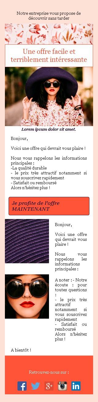 Emailing d'annonce et de promotion avec texte et image côte à côte et 2 blocs