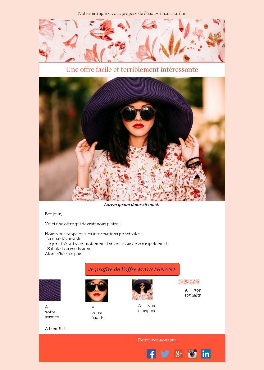 Emailing d'annonce et de promotion avec texte et image côte à côte et 4 blocs