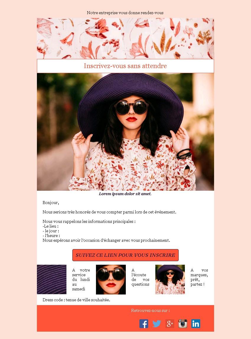 Emailing d'invitation avec texte et image côte à côte et 3 blocs