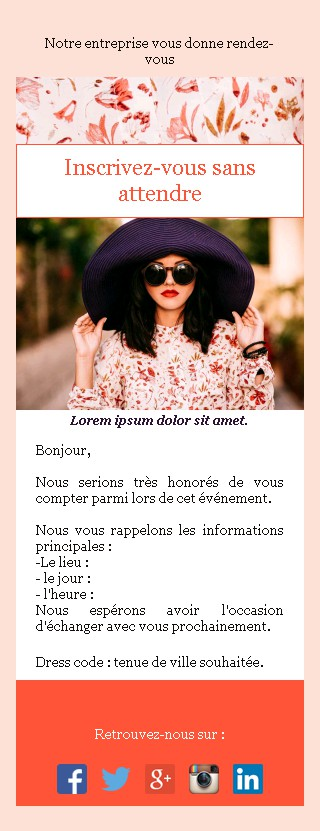 Emailing d'invitation avec texte et image