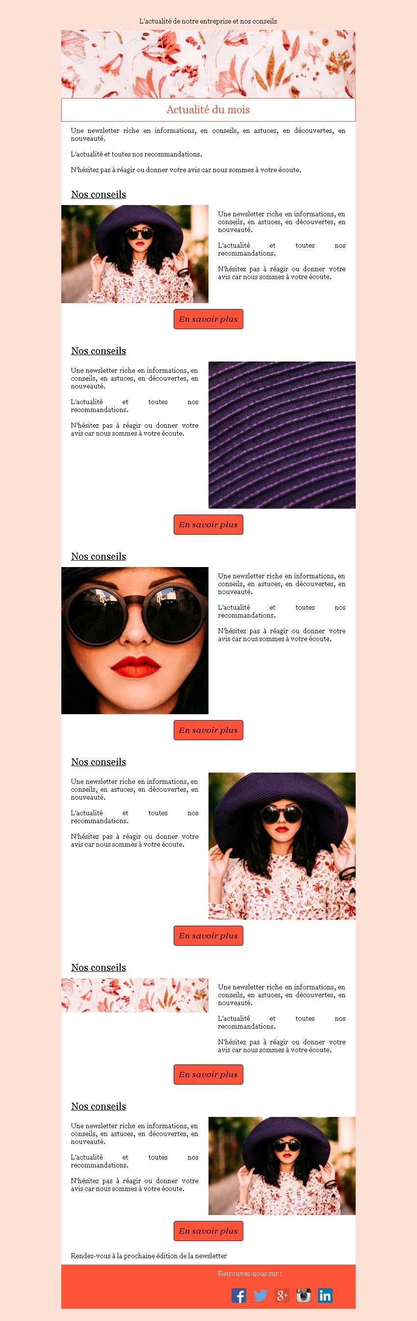 Newsletter mosaïque et bouton