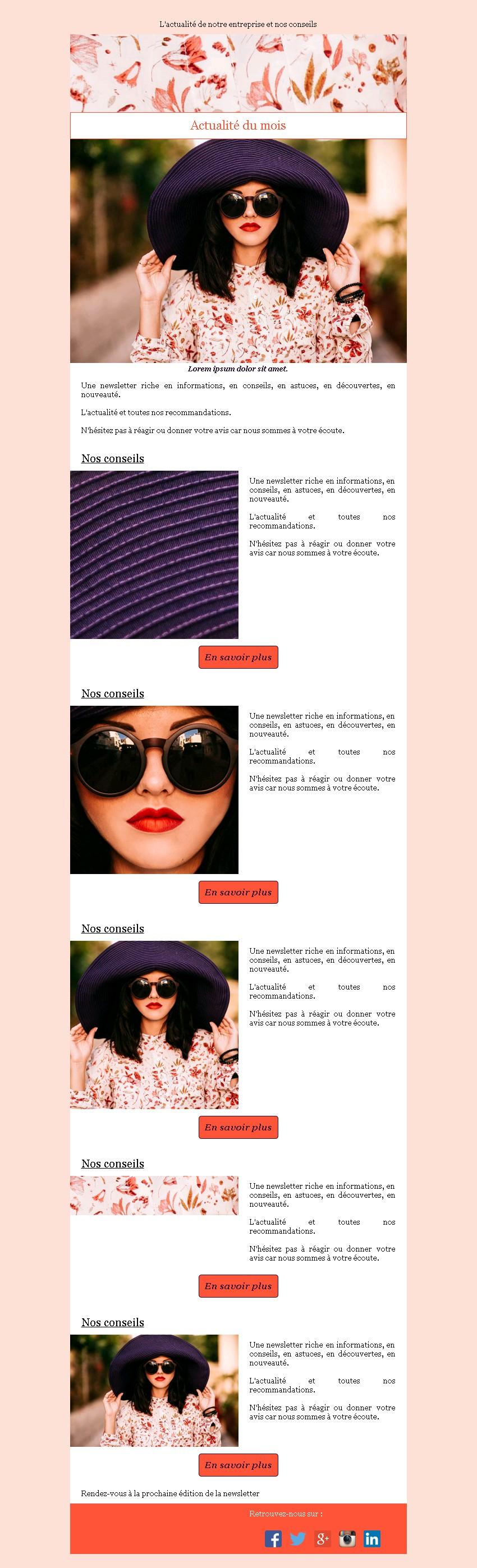 Newsletter texte et image avec édito et bouton