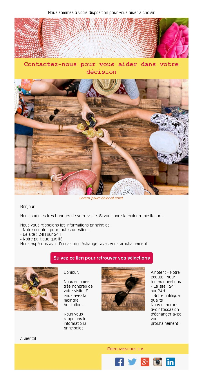 Emailing d'abandon de panier avec texte et image côte à côte et 2 blocs