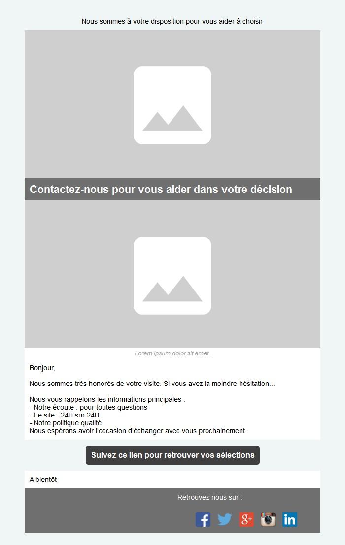 Emailing d'abandon de panier avec texte, image et bouton