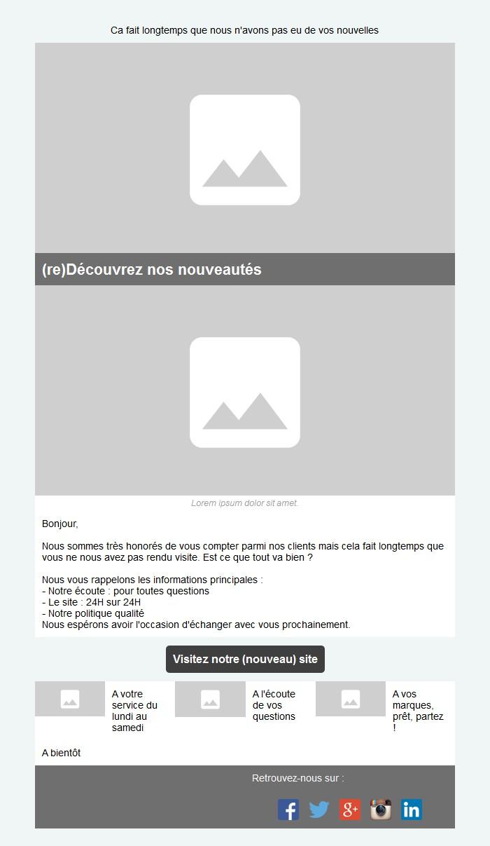 Emailing de relance des inactifs avec texte et image côte à côte et 3 blocs