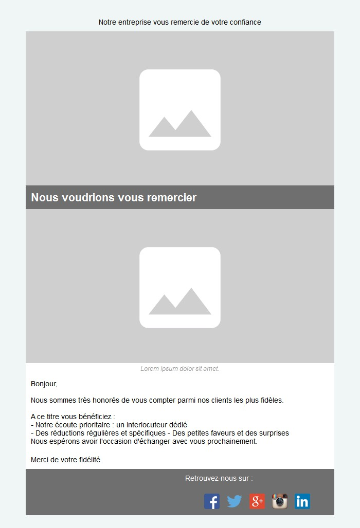 Emailing de fidélisation avec texte et image