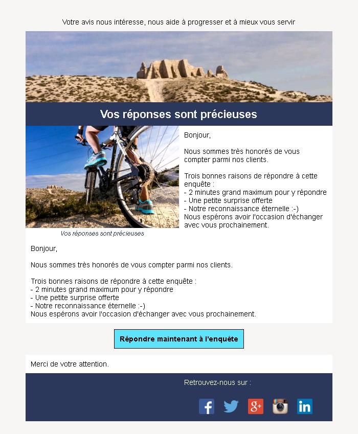 Emailing d'enquête de satisfaction avec texte et image côte à côte