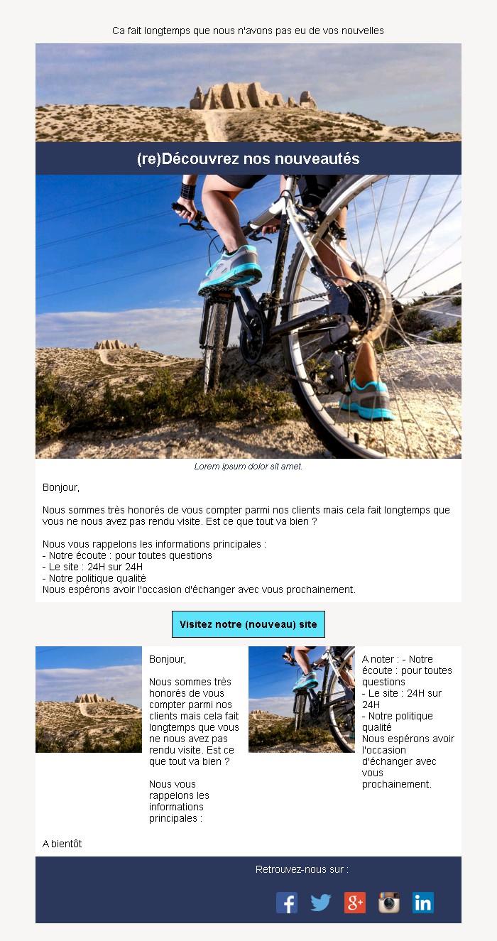 Emailing de relance des inactifs avec texte et image côte à côte et 2 blocs