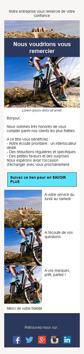 Emailing de fidélisation avec texte et image côte à côte et 3 blocs