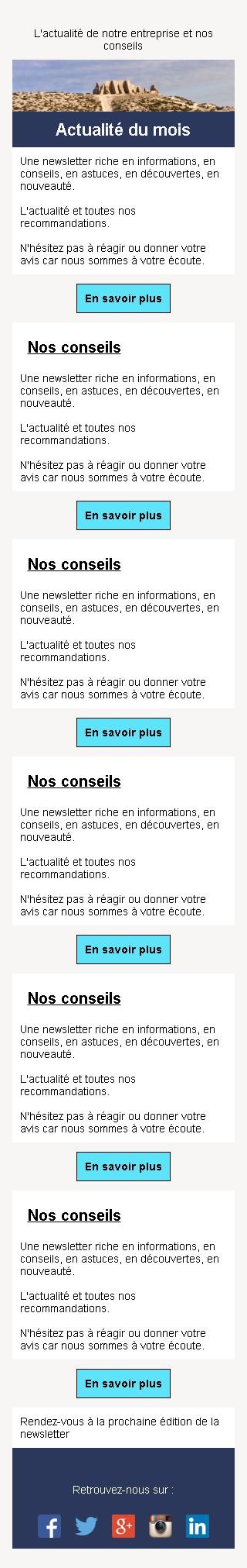 Newsletter sobre et bouton