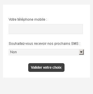 Formulaire d'abonnement SMS
