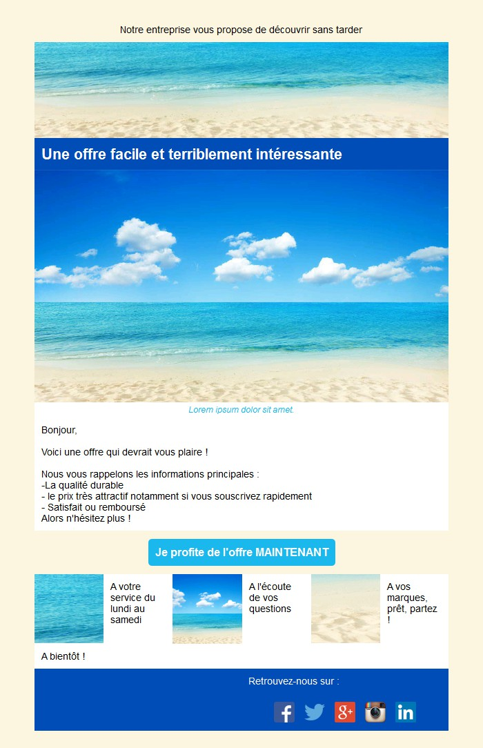 Emailing d'annonce et de promotion avec texte et image côte à côte et 3 blocs