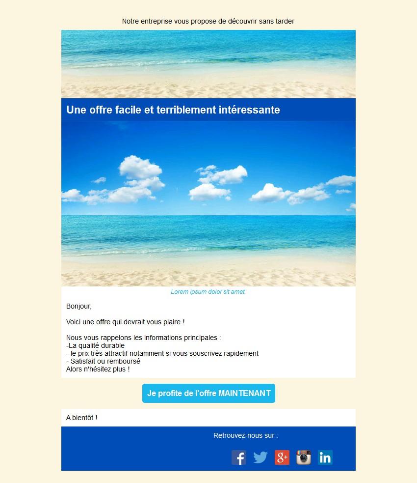 Emailing d'annonce et de promotion avec texte, image et bouton