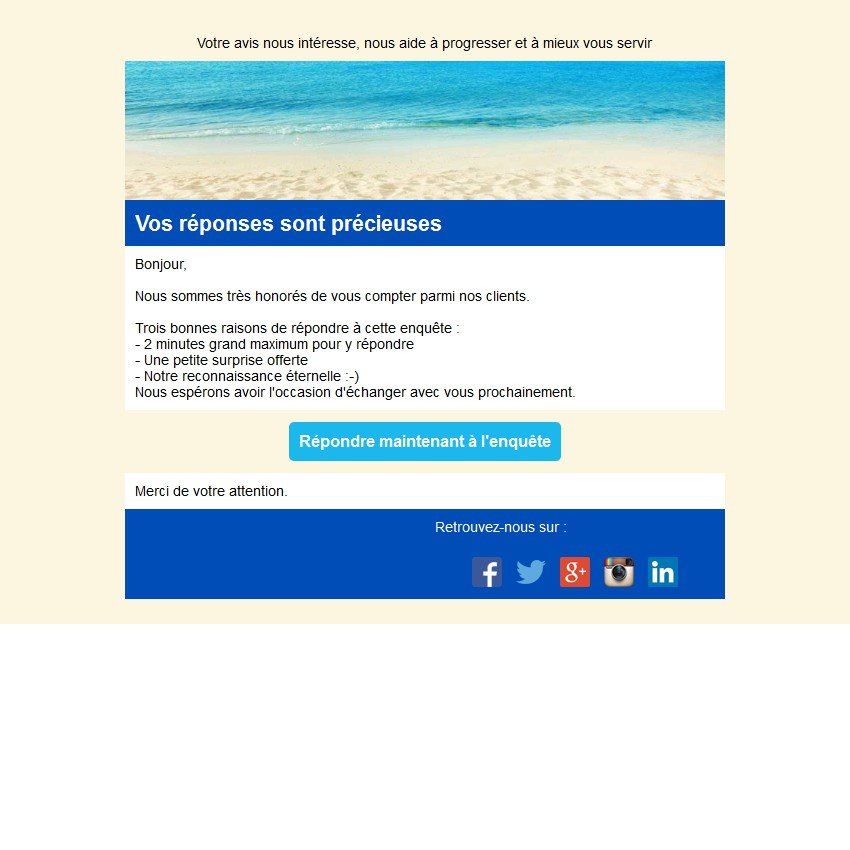 Emailing d'enquête de satisfaction avec un bouton