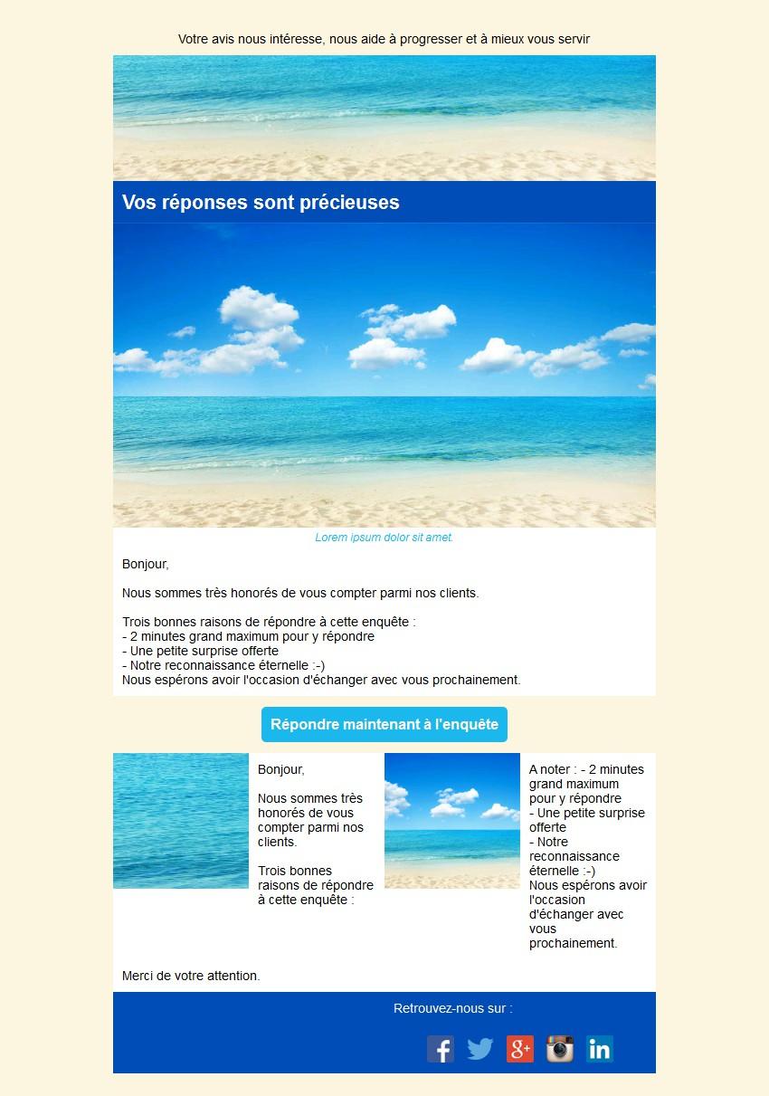 Emailing d'enquête de satisfaction avec texte et image côte à côte et 2 blocs
