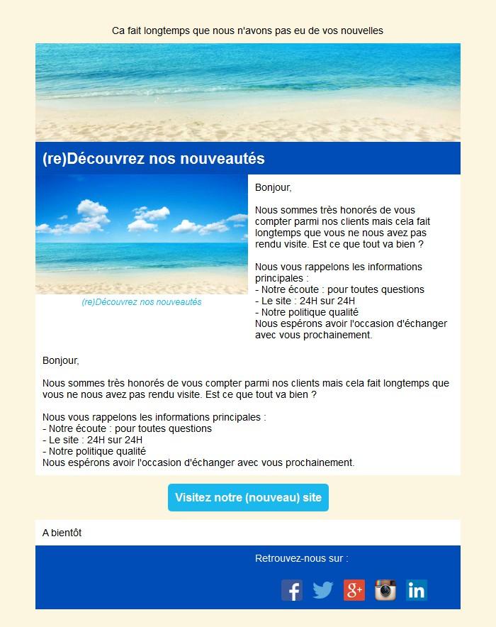 Emailing de relance des inactifs avec texte et image côte à côte