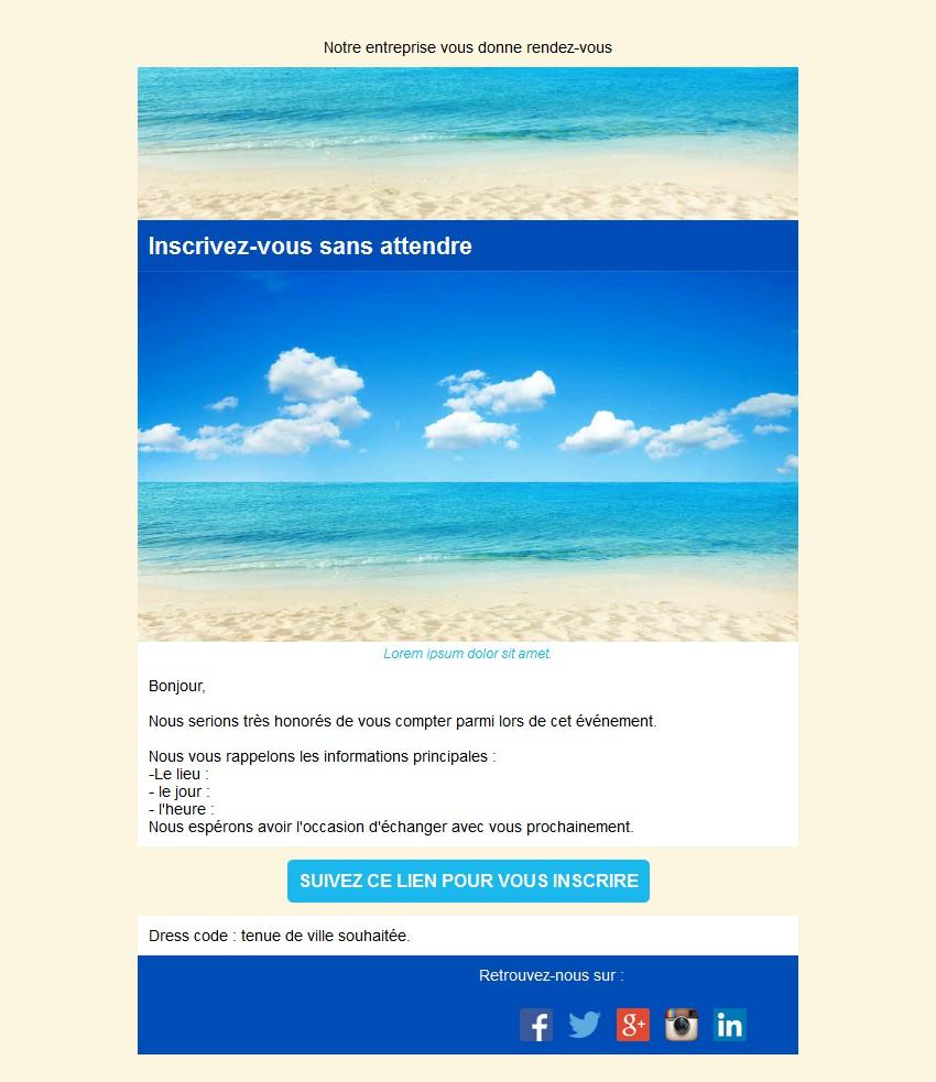 Emailing d'invitation avec texte, image et bouton