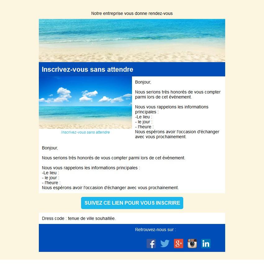 Emailing d'invitation avec texte et image côte à côte