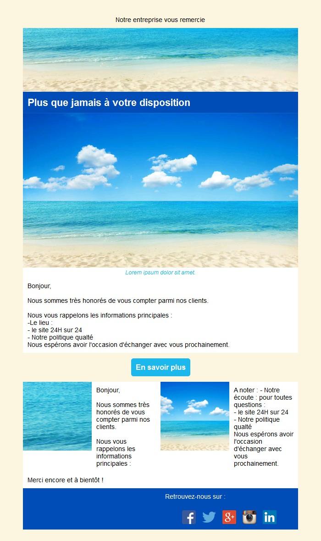 Emailing de remerciement avec texte et image côte à côte et 2 blocs