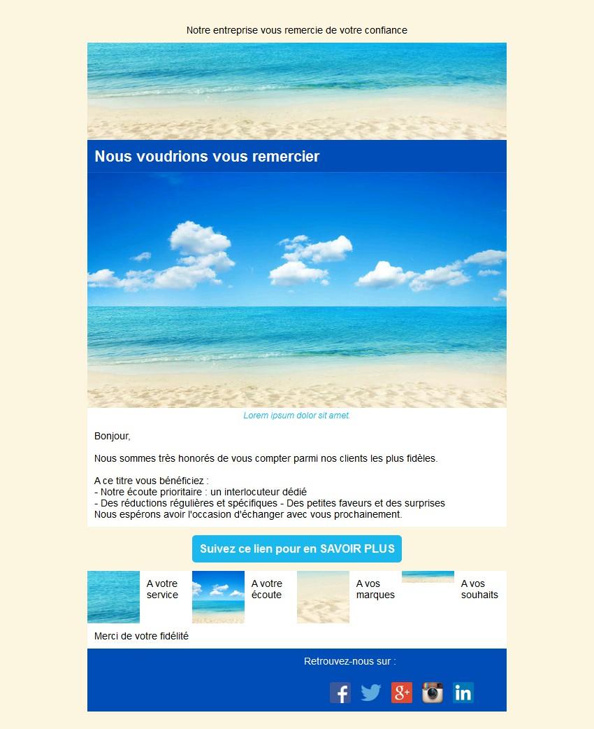 Emailing de fidélisation avec texte et image côte à côte et 4 blocs