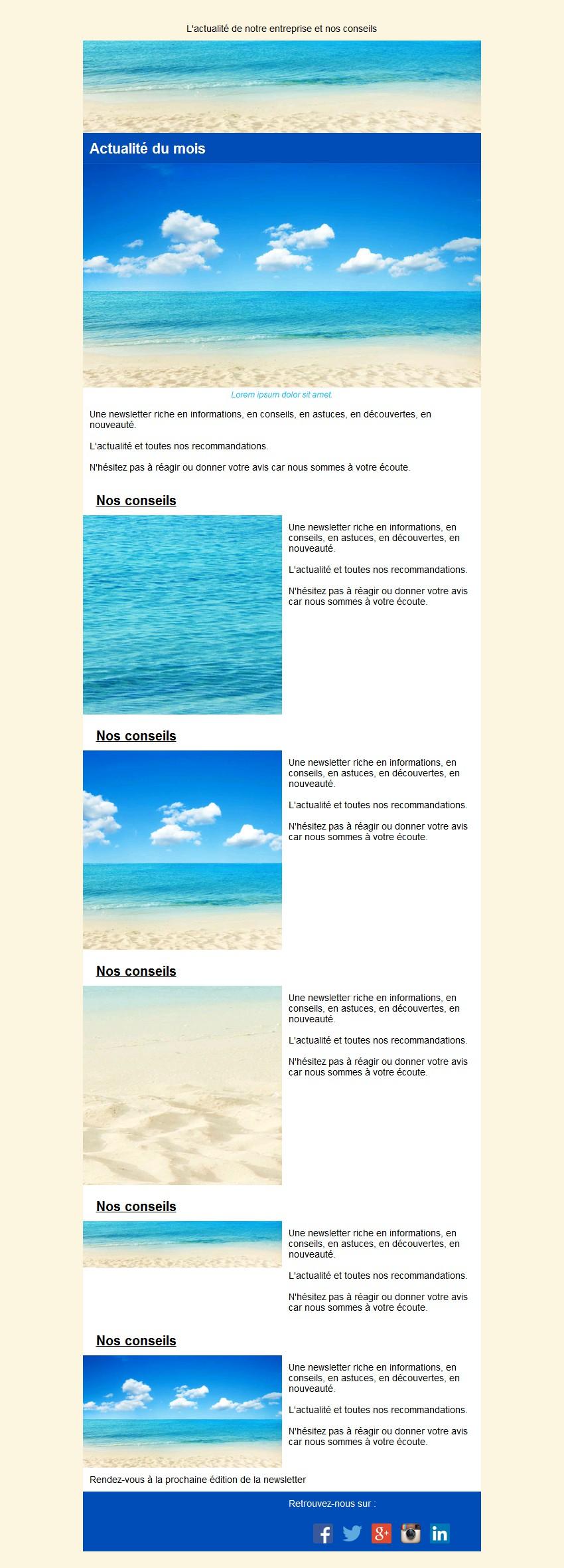 Newsletter texte et image avec édito