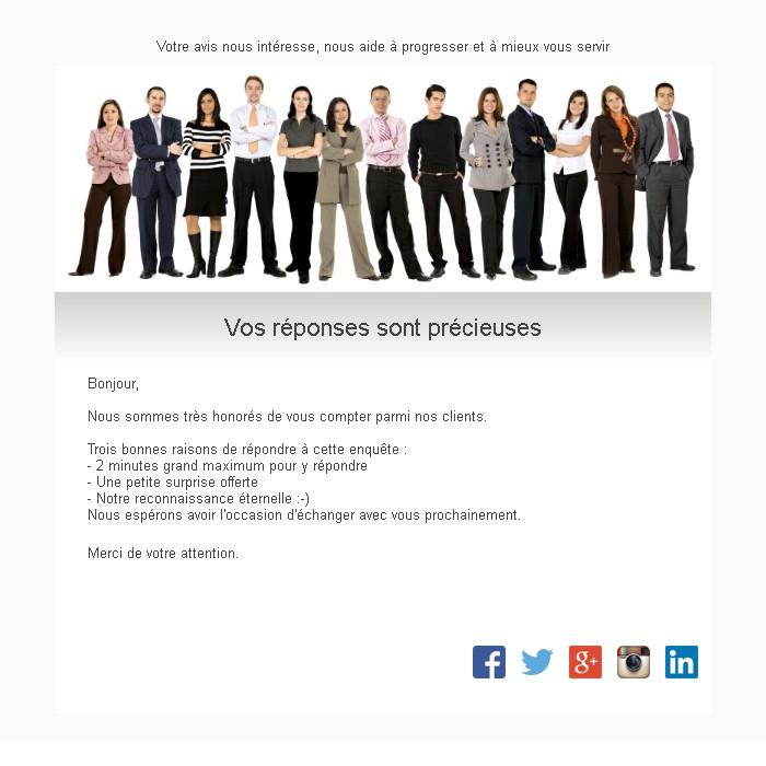 Emailing d'enquête de satisfaction
