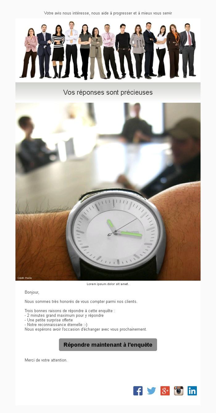 Emailing d'enquête de satisfaction avec texte, image et bouton