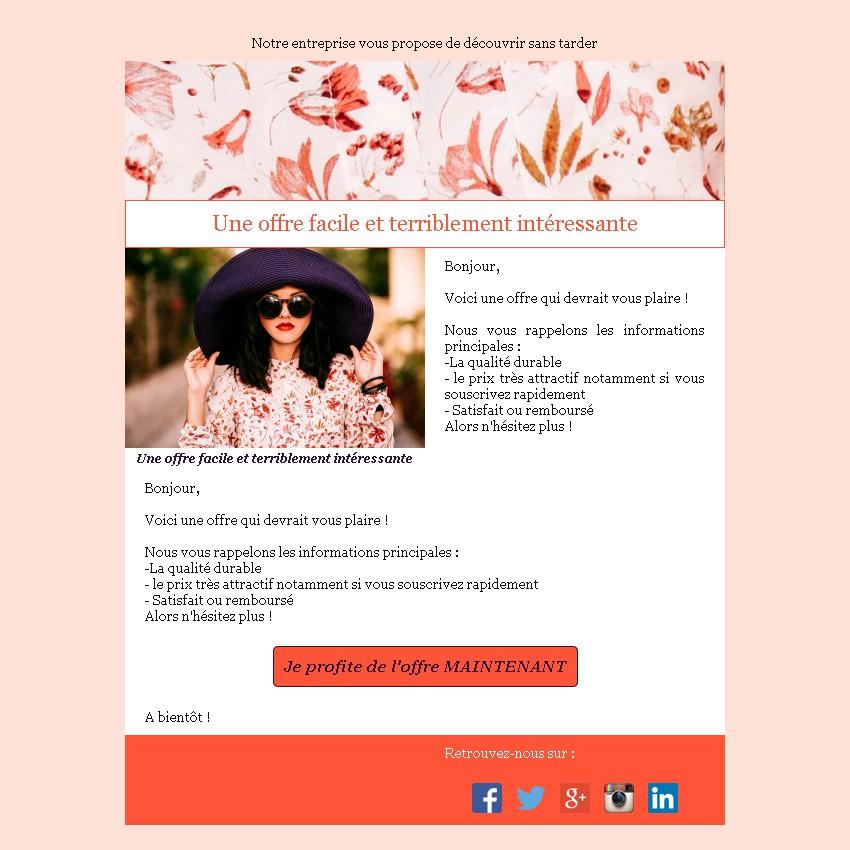 Emailing d'annonce et de promotion avec texte et image côte à côte