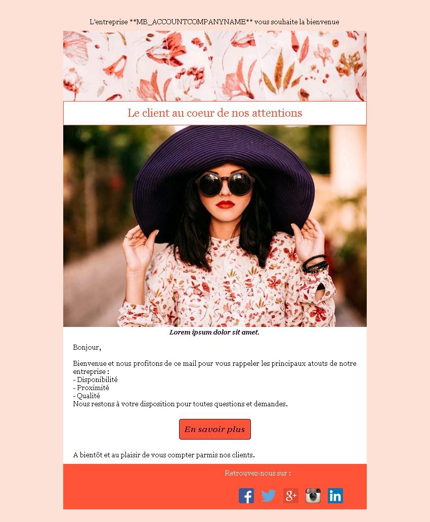 Emailing bienvenue avec texte, image et bouton