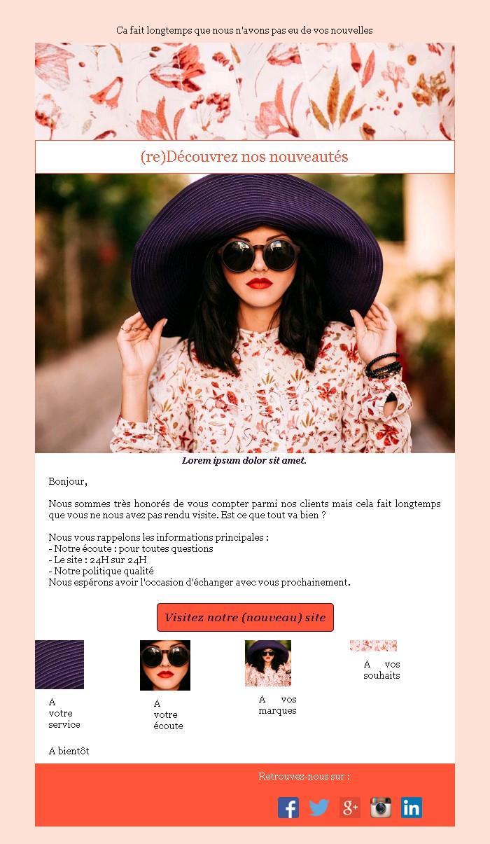Emailing de relance des inactifs avec texte et image côte à côte et 4 blocs