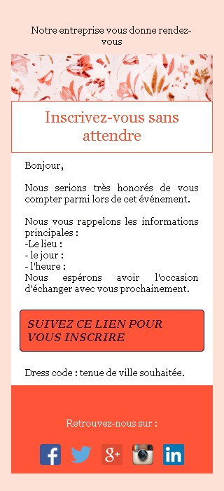 Emailing d'invitation avec un bouton