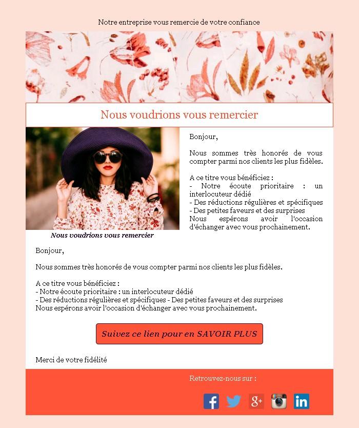 Emailing de fidélisation avec texte et image côte à côte