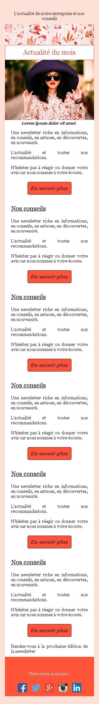 Newsletter sobre avec edito et bouton