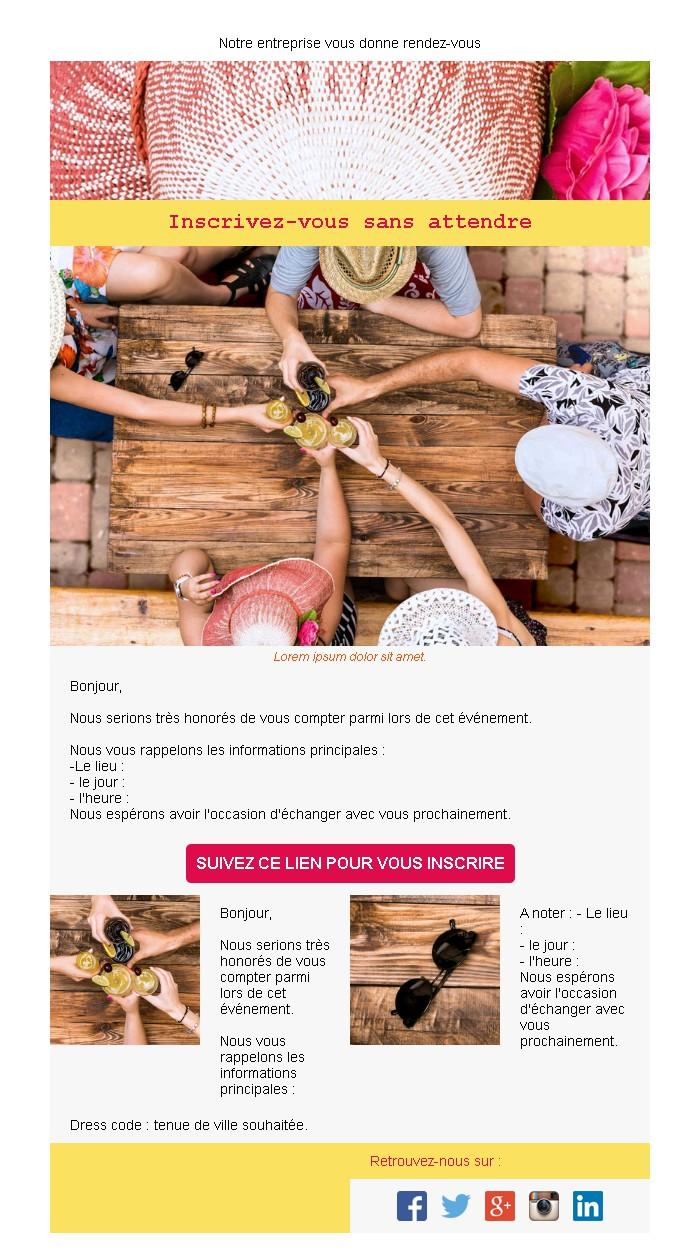 Emailing d'invitation avec texte et image côte à côte et 2 blocs