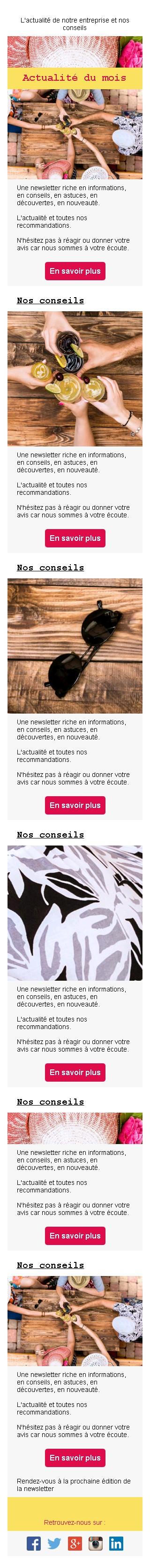 Newsletter avec image et bouton