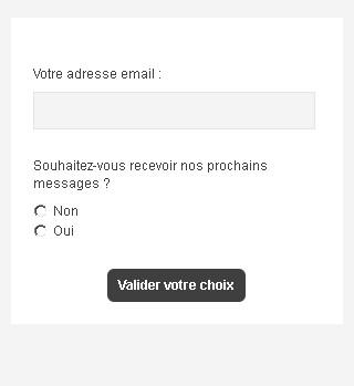 Formulaire de désabonnement Email