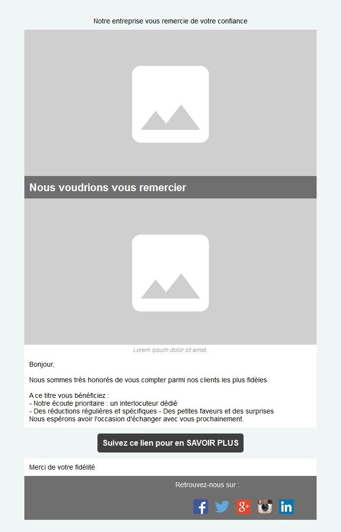 Emailing de fidélisation avec texte, image et bouton