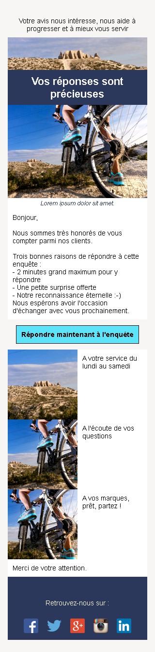 Emailing d'enquête de satisfaction avec texte et image côte à côte et 3 blocs