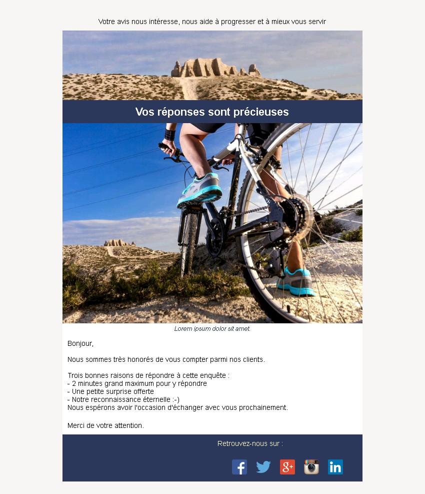 Emailing d'enquête de satisfaction avec texte et image