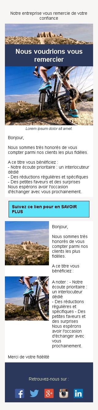 Emailing de fidélisation avec texte et image côte à côte et 2 blocs