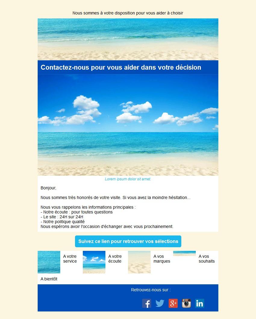 Emailing d'abandon de panier avec texte et image côte à côte et 4 blocs