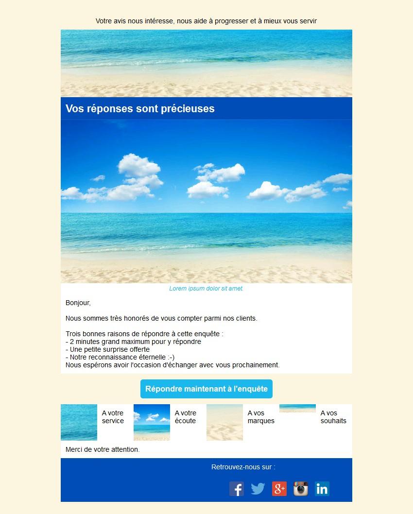 Emailing d'enquête de satisfaction avec texte et image côte à côte et 4 blocs