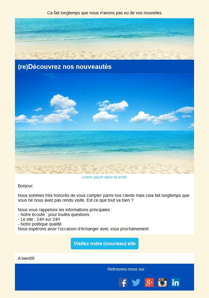 Emailing de relance des inactifs avec texte, image et bouton