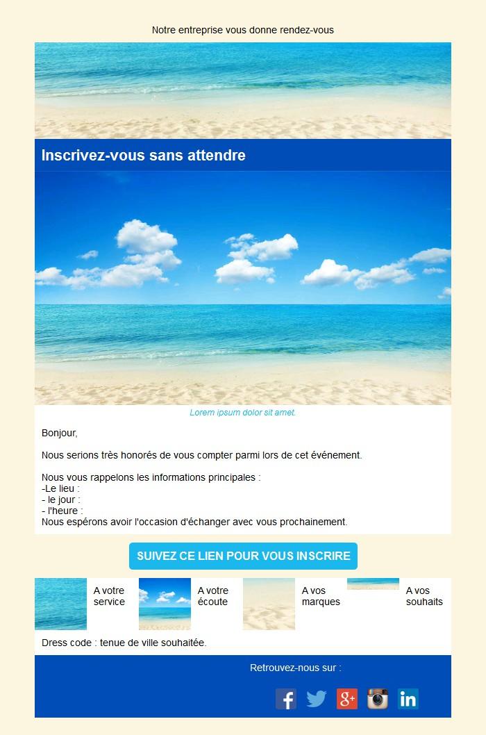 Emailing d'invitation avec texte et image côte à côte et 4 blocs