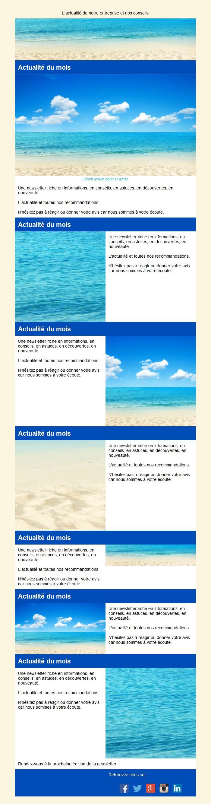 Newsletter mosaïque avec édito