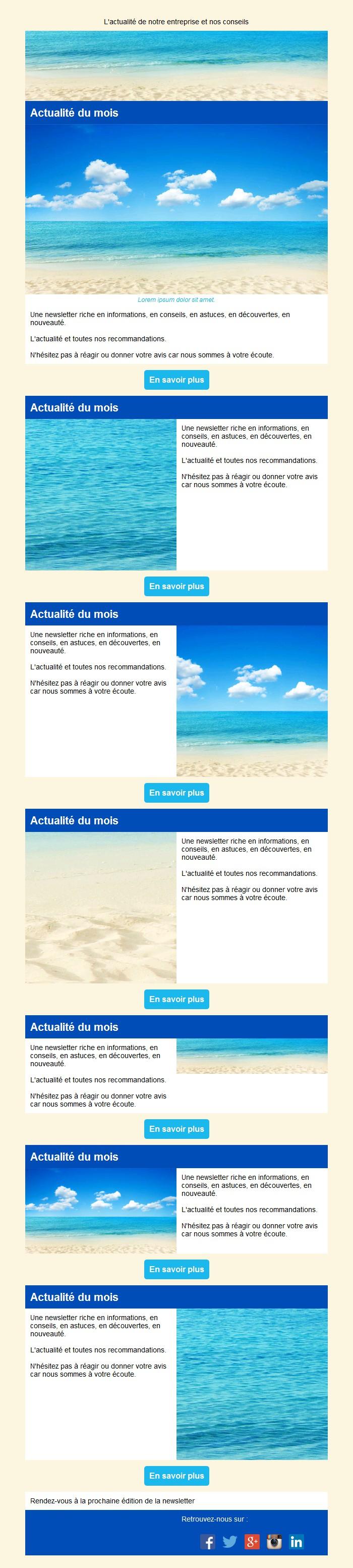 Newsletter mosaïque avec édito et bouton