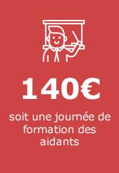 140€ soit une journée de formation des aidants